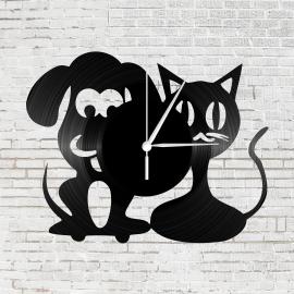 Kutyus és cica bakelit óra
