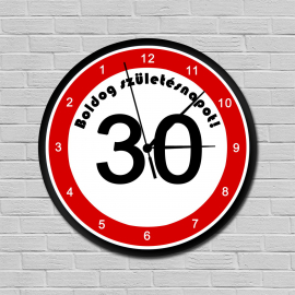 Fiatalító sebességkorlátozós falióra 30. születésnapra