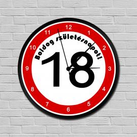 Sebességkorlátozós falióra 18. születésnapra